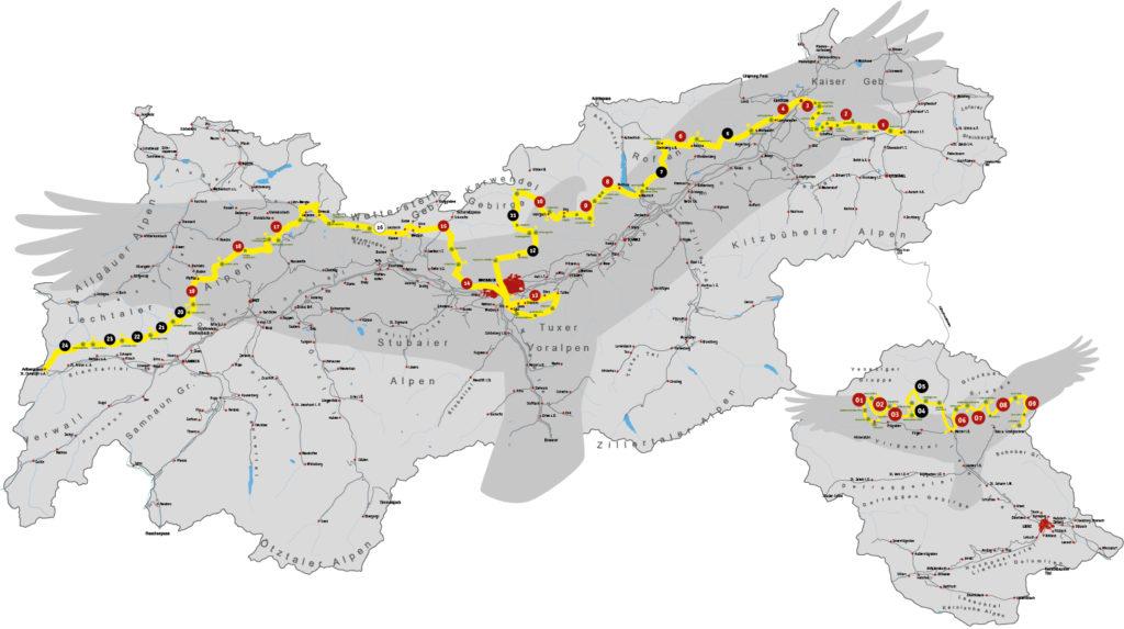 Adlerweg Tourenverlauf (von https://www.blog.tirol/2015/05/adlerweg-2-0-wandern-wo-der-adler-fliegt/)