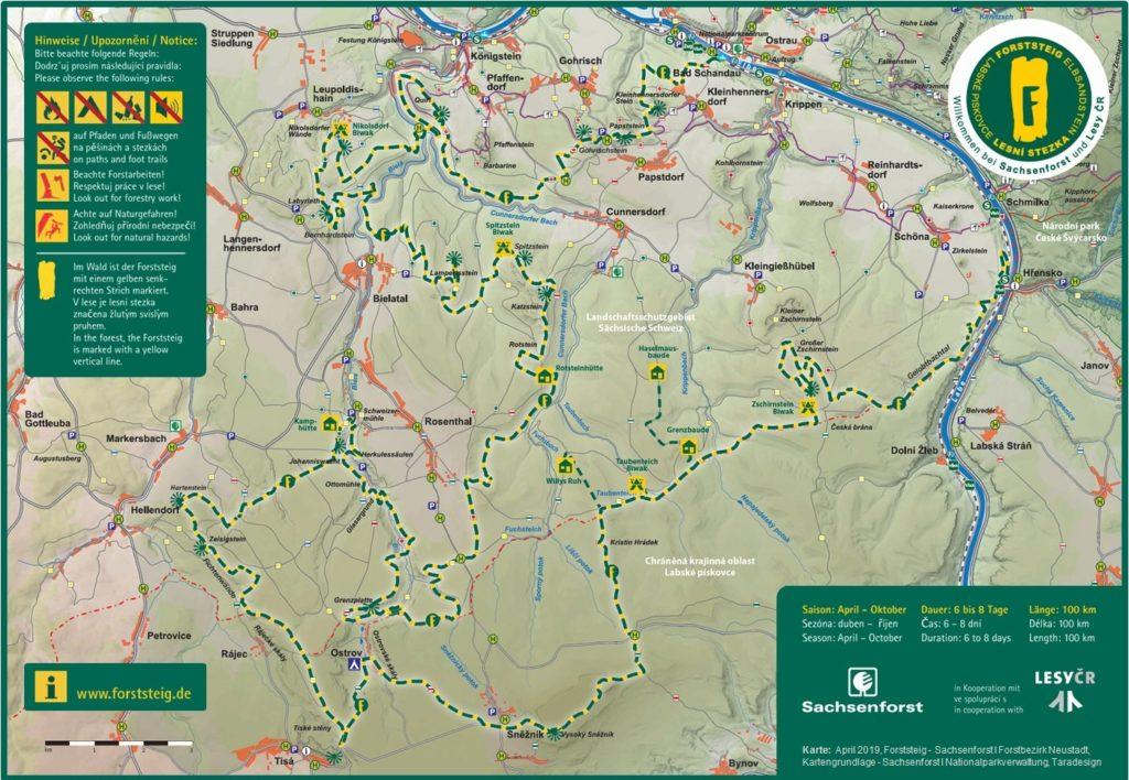 Übersichtskarte des Forststeiges im Elbsandsteingebirge