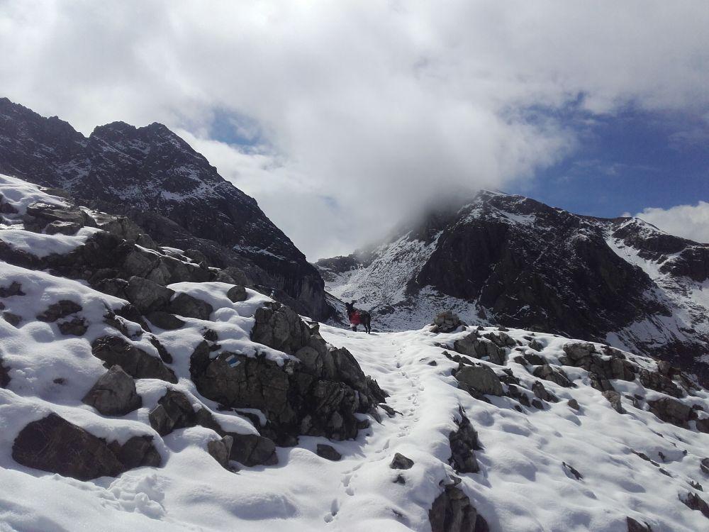 Eingeschneiter Adlerweg in den Lechtaler Alpen
