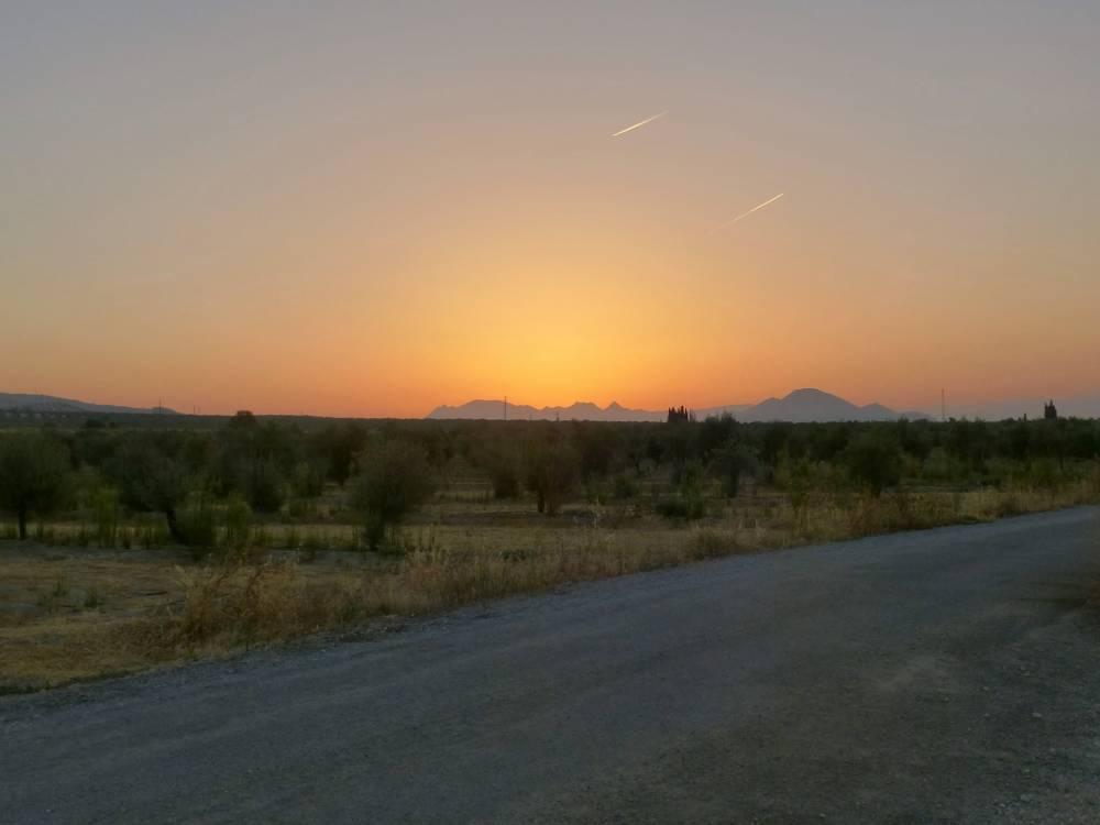 Die Sierra Nevada im Abendlicht unseres Nachtlagers