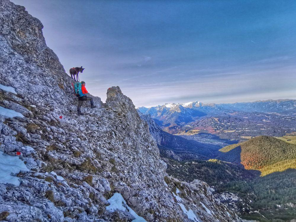 Alpinklettern mit Hund am Wörner