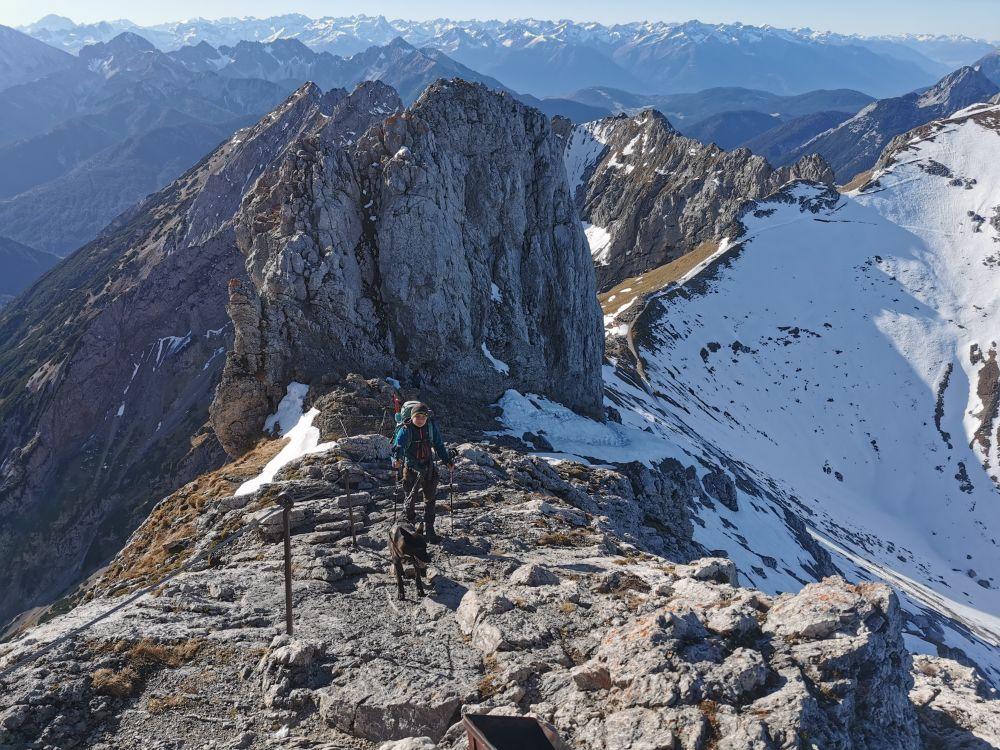 Westliche Karwendelspitze mit Hund