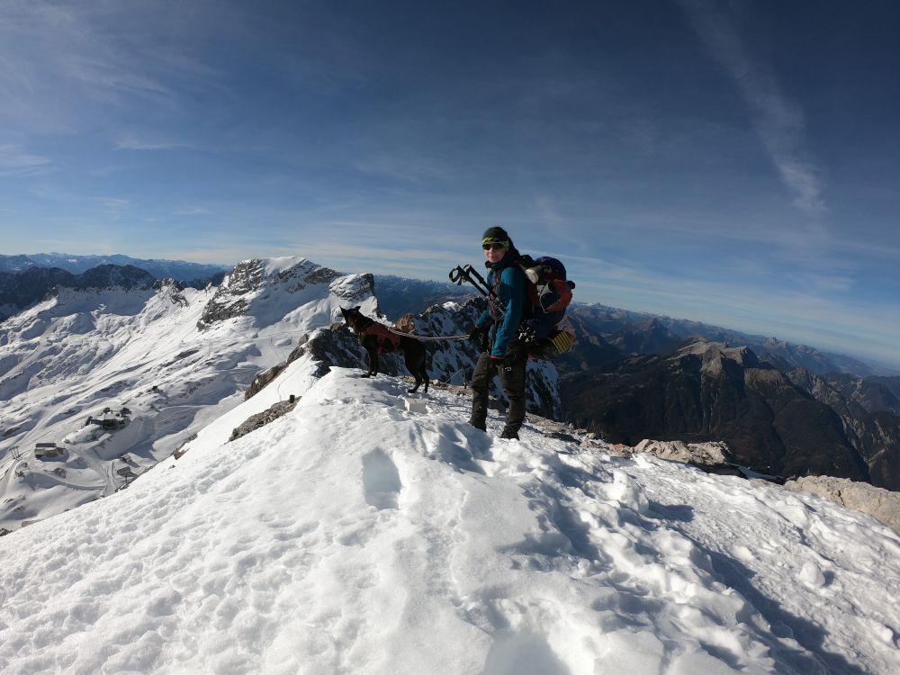 Trekking mit Hund: Zugspitze im Frühwinter