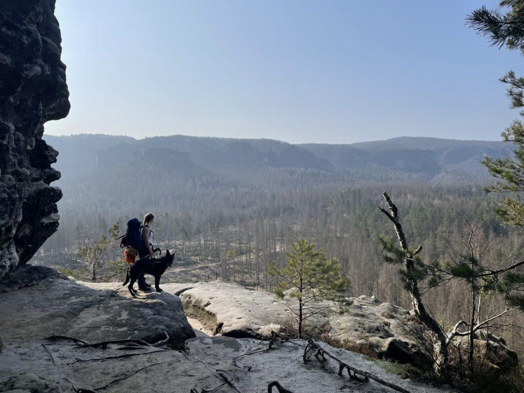 Trekking mit Hund in der Weite des Elbsandsteingebirges
